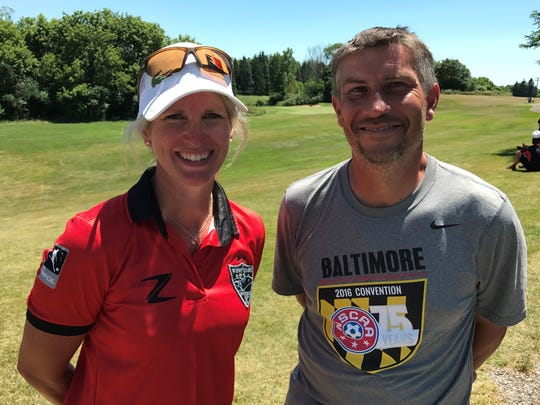 Traveling from Alaska to participate July 7-8 at the American FootGolf World Cup Shootout are Jo Reid (left) and Jeremy Johnson.
