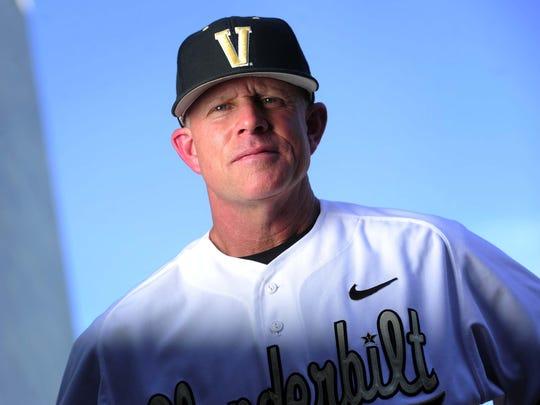Vanderbilt baseball coach Tim Corbin poses at Hawkins Field in Nashville in 2012.