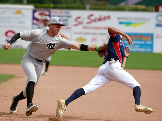 Colton Nighthawks' Tyler Ankrom tags out Southern California Renegades' Riley Dent in Game 13 of a previous Connie Mack World Series at Ricketts Park in Farmington.