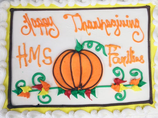 One of the desserts at Hubbard Middle School's Thanksgiving meal for the needy on Wednesday.