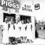 Mary Alice Pigg and her husband, Joe (left), started Joe Pigg's Eat & Drink restaurant in 1936 near the Arizona State Teachers College campus. It closed in 1941 when Joe enlisted in the Navy. <137>on the NE corner of University & College to serve students and faculty. Joe, at left, poses with some of his student employees.<137>