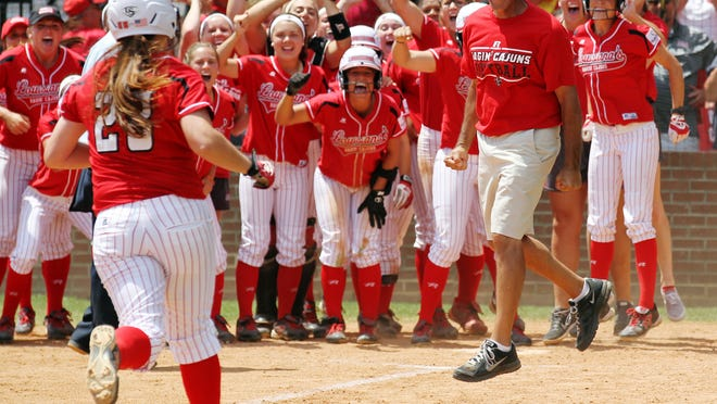 UL's Kelsey Vincent rounds third after hitting a home run during NCAA Regional play last May against the Texas Longhorns. The Ragin' Cajuns drew a No. 13 seed and will be hosting Baylor, Mississippi State and Weber State, beginning Friday at Lamson Park.