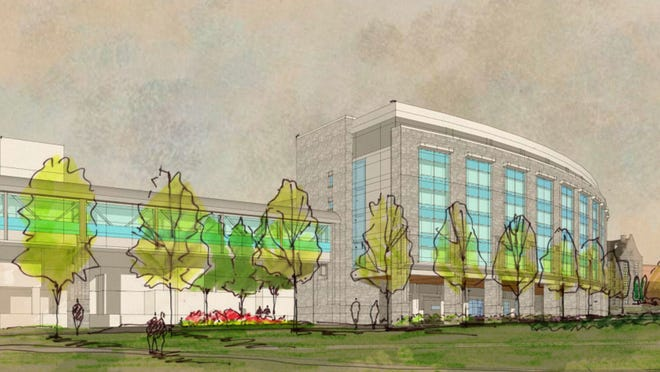 An artist's rendering depicts the proposed 128-bed inpatient building at the University of Vermont Medical Center.