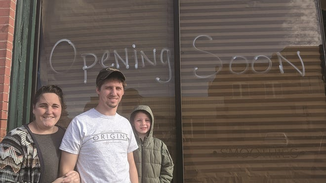 Katie, Barry Anders and their 7-year-old son Noah are the new owners of Origins Coffee House in Haviland.