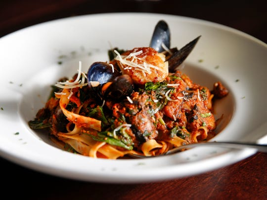 The seafood pasta pomodoro - shrimp, mussels, scallops,