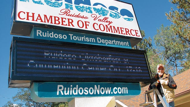 The Ruidoso Valley Chamber of Commerce sign on n Sudderth Drive Stands tall welcoming all to the Village.