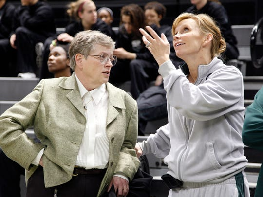 Michigan State coach Suzy Merchant, right, and MSU