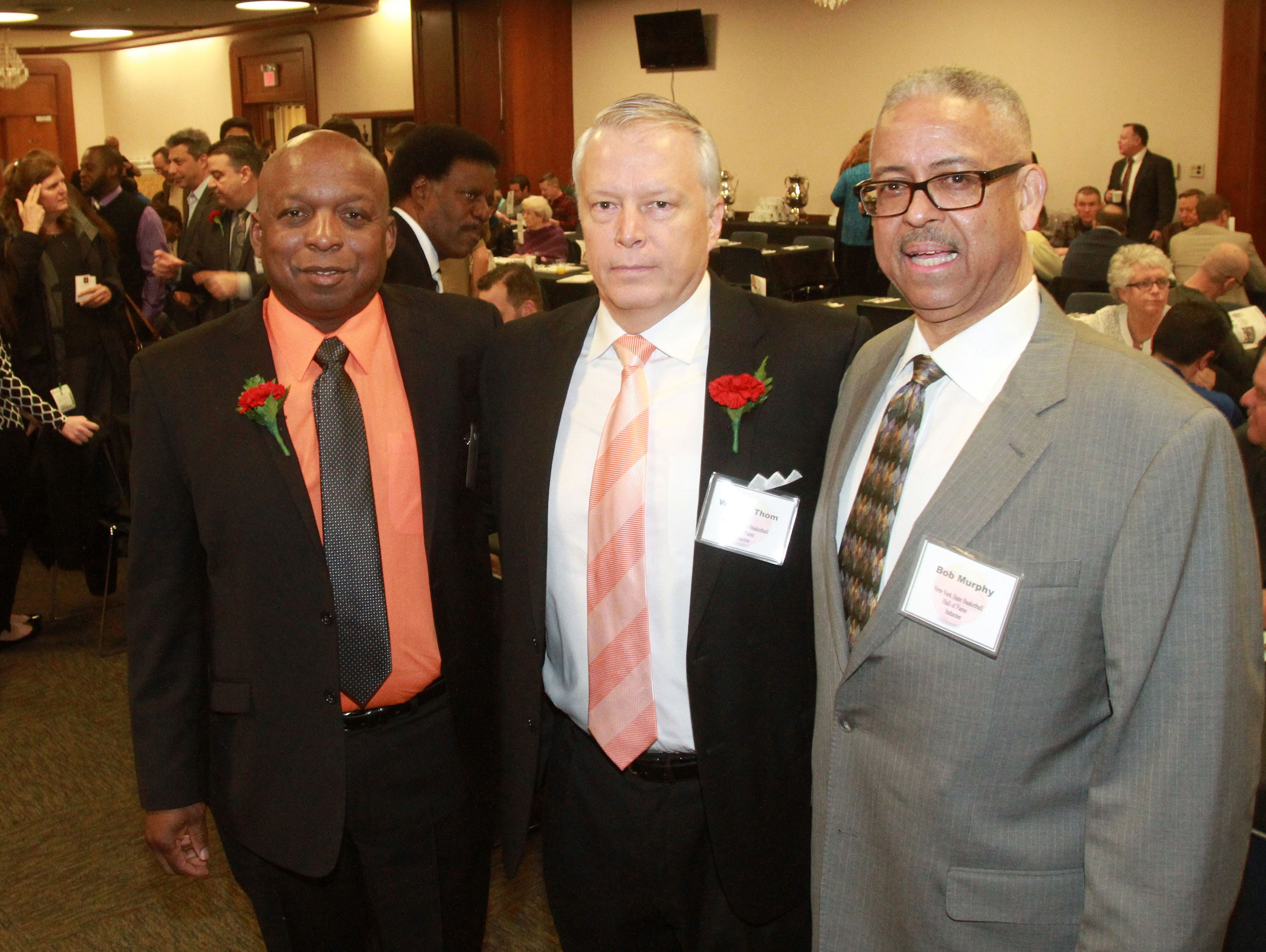 From left, White Plains' coach Spencer Mayfield, Croton's coach Bill Thom, and Woodlands' coach Bob Murphy were inducted into the Basketball Hall of Fame at the Glens Falls Civic Center March 13, 2016.