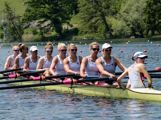 Amanda Elmore, second from right in the stroke seat, went to Purdue without any rowing experience. Her novice coach quickly realized she had the potential to go beyond college in the sport.
