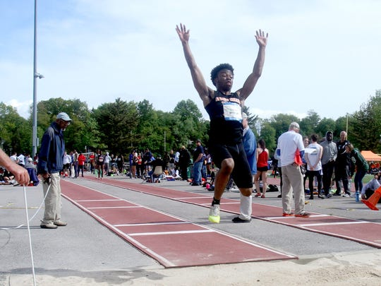 Ovens George of Spring Valley competes in the long jump during day 2 of the 50th annual Loucks Games at White Plains High School May 12, 2017.