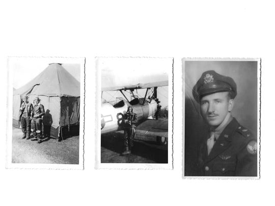These photos show Woodrow Felty during World War II, from left: Felty is on the left with an unidentified man in front of a tent, Felty with a biplane similar to the training plane in which he learned to fly, and Felty circa 1947.