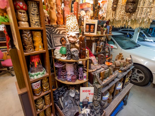 Wendy and Daniel Cevola's Tiki and related items collection includes part of the garage at their home -- their Tiki oasis -- in Elk Grove, Calif.