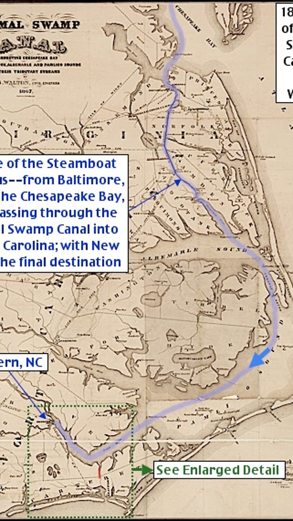 1867 Dismal Swamp Canal Map by D. S. Walton (Wikipedia Public Domain, courtesy of University of North Carolina; Annotations by S. H. Smith, 2015)