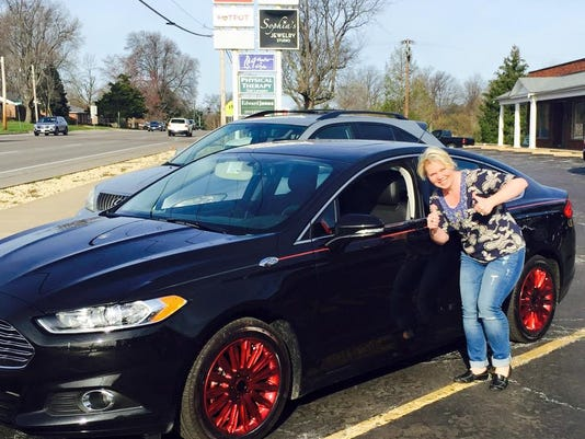 Becky Schoenig of St. Charles County thanks thieves for her new 'pimped out' Ford Fusion.