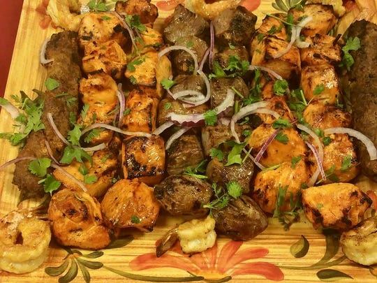 A selection of kebabs from Babur Garden Restaurant in Ocean Township. Kebabs are on the menu at Babur Garden Express, which opened recently in Monmouth Mall.