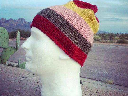 One of the hats that will be donated to residents of Camp Hope Tent City during the Las Cruces Knit Charm 2015 Tent City Yarn Bombing on Sunday, Oct. 18.