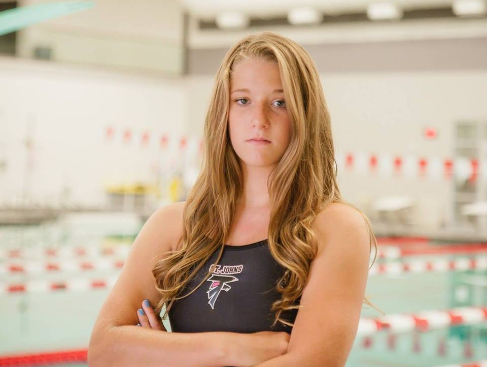 Kayla Bellant recently set a pool record in the 100 backstroke for St. Johns.
