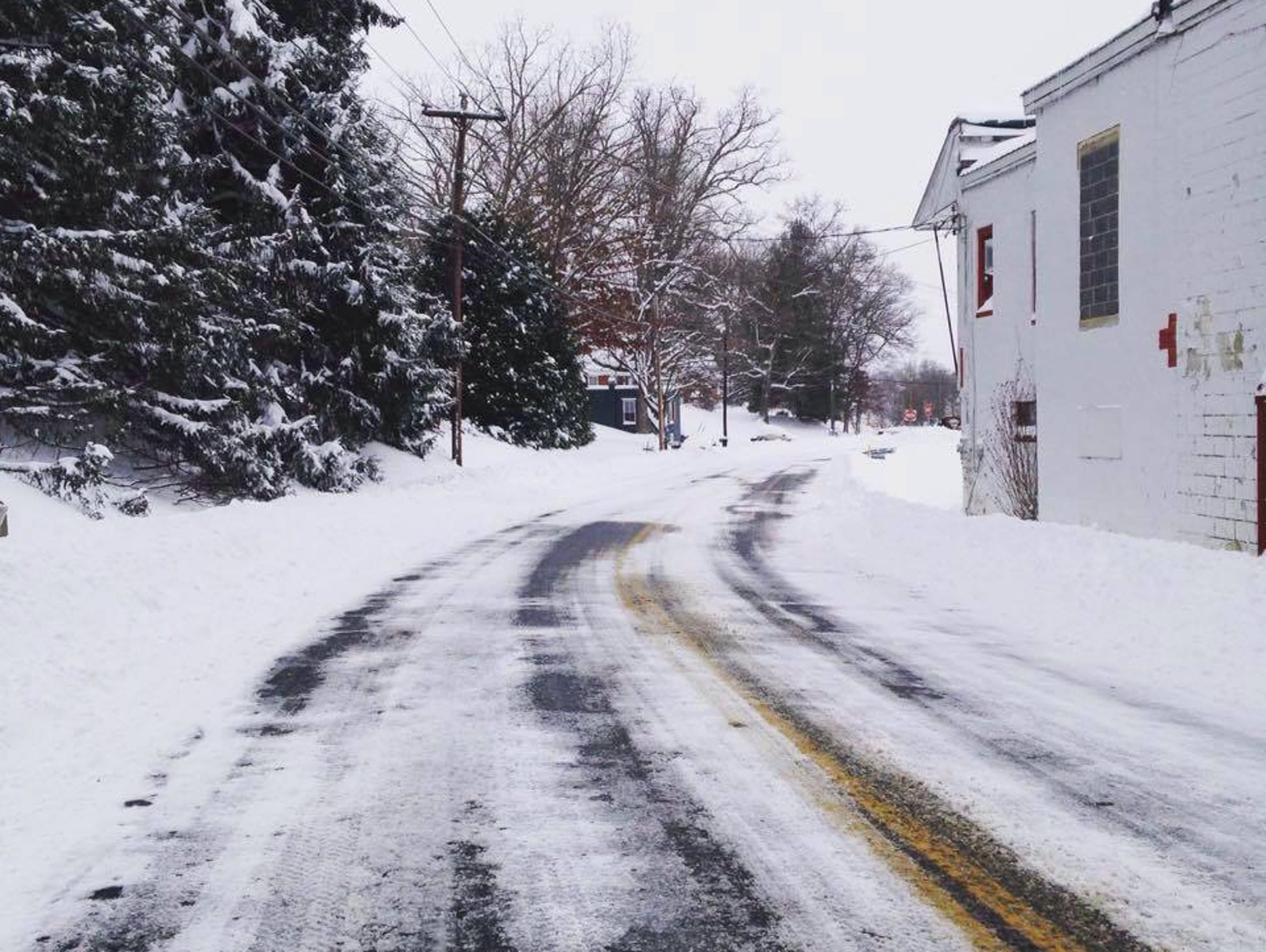 A snowy road in Staunton during Winter Storm Jonas