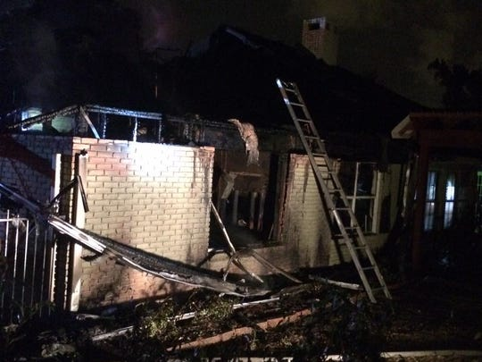 The Berthelot family's home caught fire late Wednesday. The family wasn't there at the time because the house was undergoing flooding repairs.