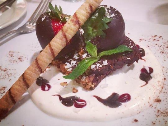 A decadent chocolate terrine dessert will delight diners at the Frenchtown Inn on Valentine's Day