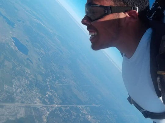 Michael went sky diving before his cancer relapse in September.