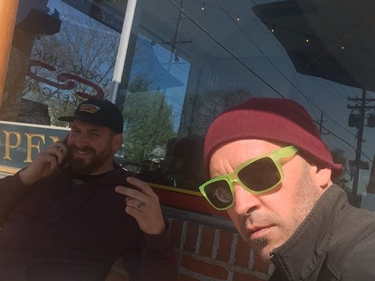 Joe Gentile and Tom Marchetty hang out outside of Local Links in Haddon Heights. Marchetty owns The Factory maker spaces in Collingswood and Cherry Hill.