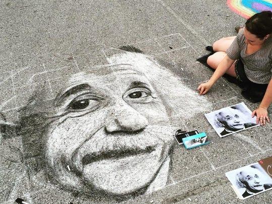 Artist Christie Snelson interprets a photo of Albert