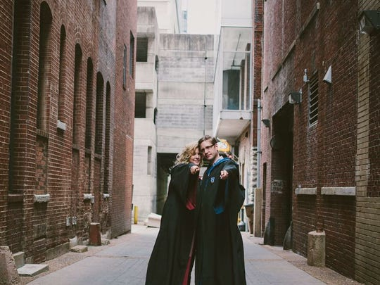 Both Harry Potter fans, Rachel Sloan and Thomas Brandt dressed in Hogwarts School of Witchcraft and Wizardry uniforms for their engagement photos.
