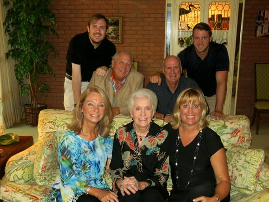 Bette Irish and her family at her 90th birthday brunch at her Spring Lake home: Linda Irish Bostic, (clockwise, from seated far right), Betty Irish, Leigh Ann Irish, Jason Irish, Lyn Irish, Keddy Bostic, Kedric Bostic.