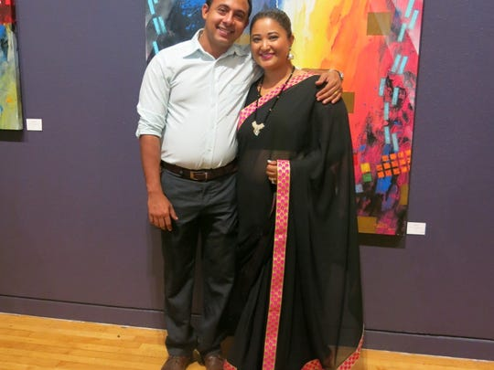 "Suraj Gylawali, Jwala Parajull,  both of Ruston at ""Echoes of Nepal"" opening at artspace."