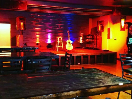 The performance stage at Lucky Chance bar in West Allis.