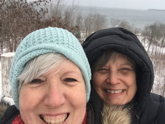 West Bloomfield's Wendy Brink, left, and Lisa Giesecke