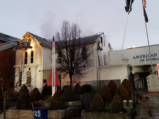 Much of the Joe Stickel Post 15 American Legion, 63 E. Main St., Waynesboro, burned down in a fire in the early hours Thursday.