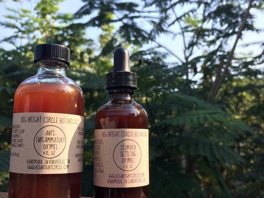 Anti-Inflammatory and Stomach Settling Oxymel both feature local Tennessee raw unfiltered honey.