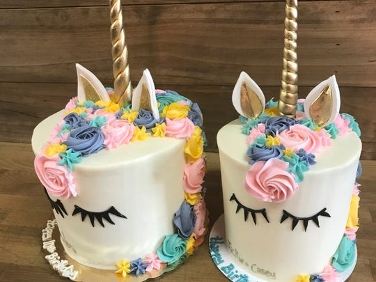 A wide variety of customized unicorn cakes are available from Sweet T's Bakeshop in Haddonfield.