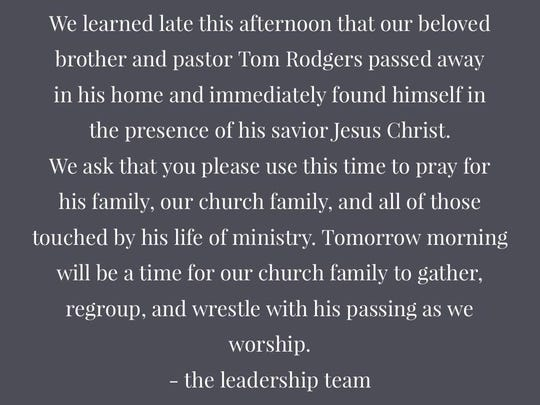 Grace Church posted the sad news on its Facebook page