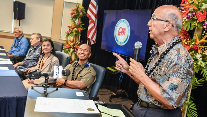 Joey Duenas, Guam Consolidated Commission on Utilities board chairman, addresses those in attendance during a proclamation signing ceremony at the Gloria B. Nelson Public Facility in Mangilao on Tuesday, May 8, 2018. During the event, Gov. Eddie Calvo signed a proclamation to celebrate the 50th anniversary of the agency's ability to provide power to the people of the island.