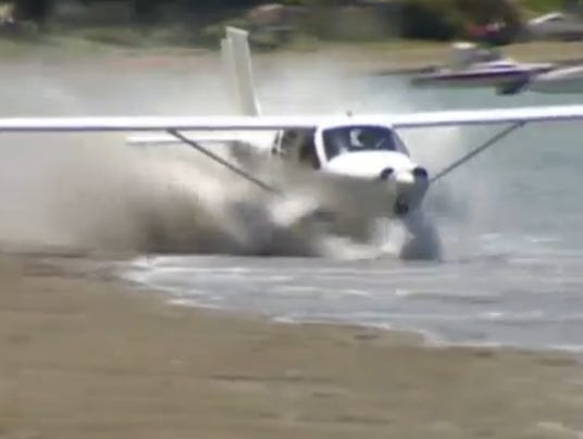 plane beach takeoff
