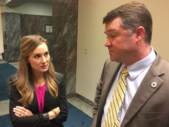Rep. Paula Davis, R-Baton Rouge, and Rep. Stephen Dwight, R-Lake Charles, discussed Davis' bill to raise a 0.45-percent sales tax during the third Special Session. Davis' bill passed and was signed into law.