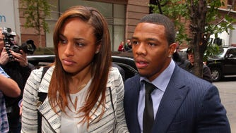 Nov 5, 2014; New York, NY, USA; Suspended NFL running back Ray Rice (right) exits a car with his wife, Janay, to enter the building where Rice will appeal his NFL suspension. Mandatory Credit: Brad Penner-USA TODAY Sports usp [Via MerlinFTP Drop]