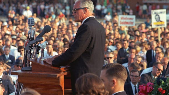 Sen. Barry Goldwater, R-Ariz., speaks in Raleigh, N.C., during his presidential campaign in this Sept. 17, 1964 photo. Political humorist P.J. O'Rourke on Friday recalled protesting Goldwater at a Sept. 30, 1964, campaign stop in Toledo, Ohio. (AP Photo)