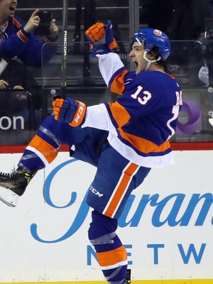 Mathew Barzal recorded a hat trick for the Islanders against the Jets.