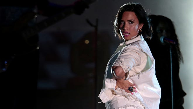 Demi Lovato performs during the All-Star Concert at Paul Brown Stadium.