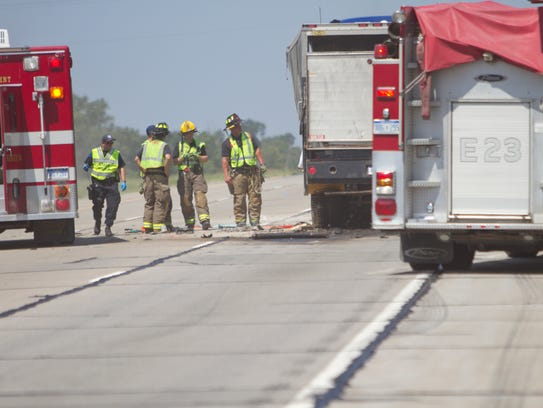 A fatal accident on westbound I-96 east of the Burkhart