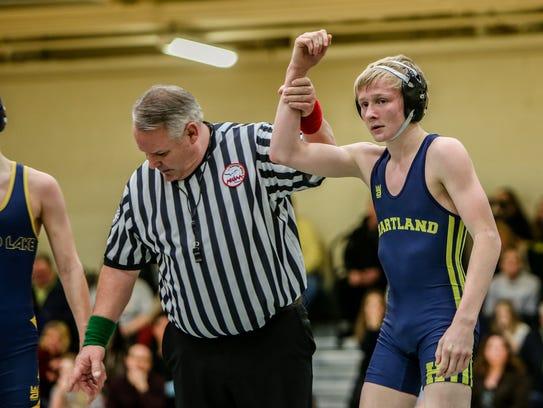 Hartland wrestler Kyle Kantola won his match against