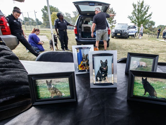 Photos of current K-9 officers sit on display during