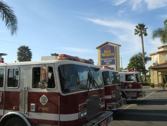 Fire engines from around California fill the parking
