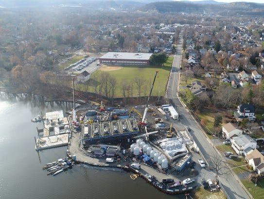 Aerial photo of the dredging equipment set up to remove