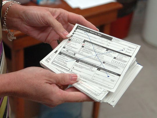 A mailed-in ballot is shown in this 2016 file photo. Wichita County recently purchased voting equipment for a possible surge in mail-in ballots. Currently people must meet qualifications to vote by mail such as being a member of the military, over age 65 or disabled.