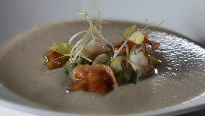 The sunchoke veloute served at The Oakroom at the Seelbach Hilton.